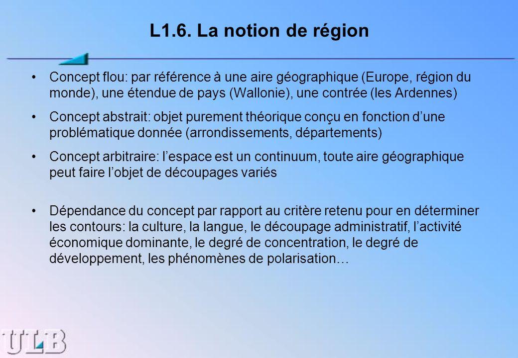 L1.6. La notion de région Concept flou: par référence à une aire géographique (Europe, région du monde), une étendue de pays (Wallonie), une contrée (