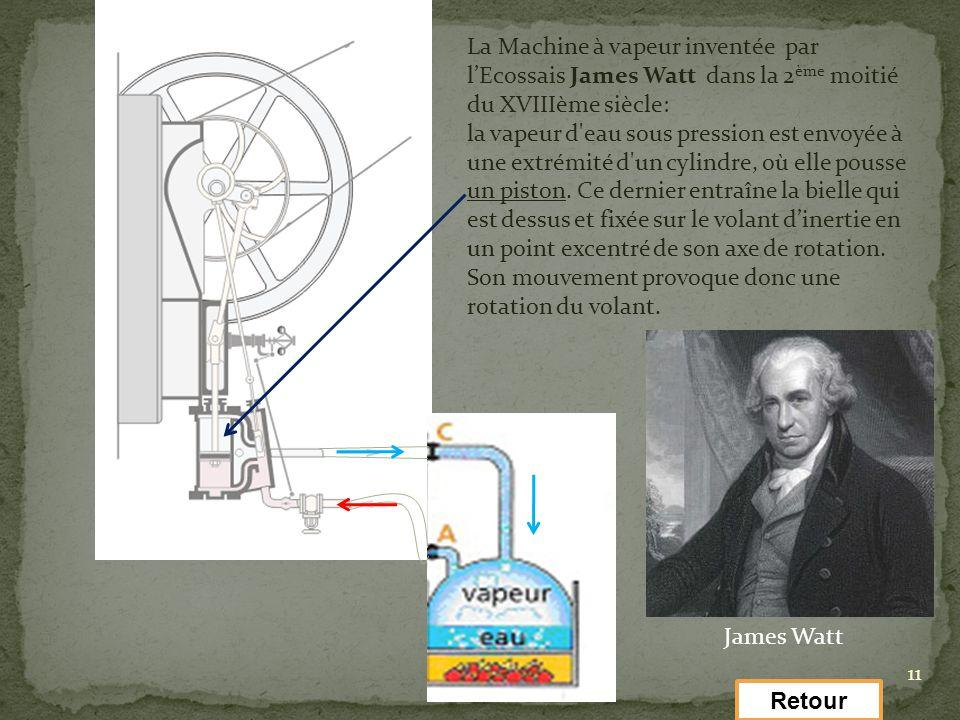 11 La Machine à vapeur inventée par lEcossais James Watt dans la 2 ème moitié du XVIIIème siècle: la vapeur d'eau sous pression est envoyée à une extr