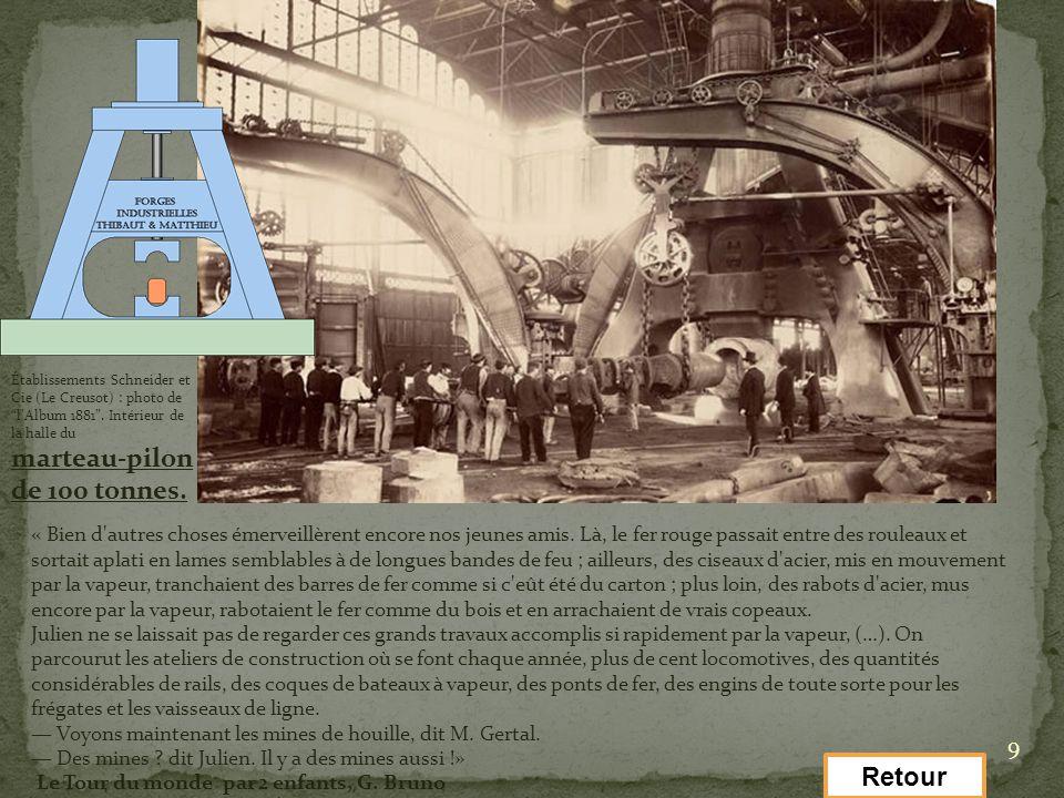 9 Établissements Schneider et Cie (Le Creusot) : photo de lAlbum 1881. Intérieur de la halle du marteau-pilon de 100 tonnes. « Bien d'autres choses ém