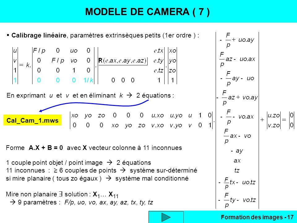 Formation des images - 17 CALIBRAGE LINEAIRE MODELE DE CAMERA ( 7 ) Calibrage linéaire, paramètres extrinsèques petits (1er ordre ) : En exprimant u e