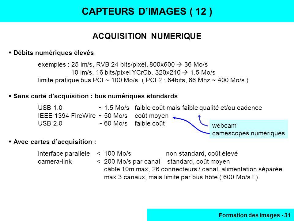 Formation des images - 31 ACQUISITION NUMERIQUE CAPTEURS DIMAGES ( 12 ) Débits numériques élevés exemples : 25 im/s, RVB 24 bits/pixel, 800x600 36 Mo/