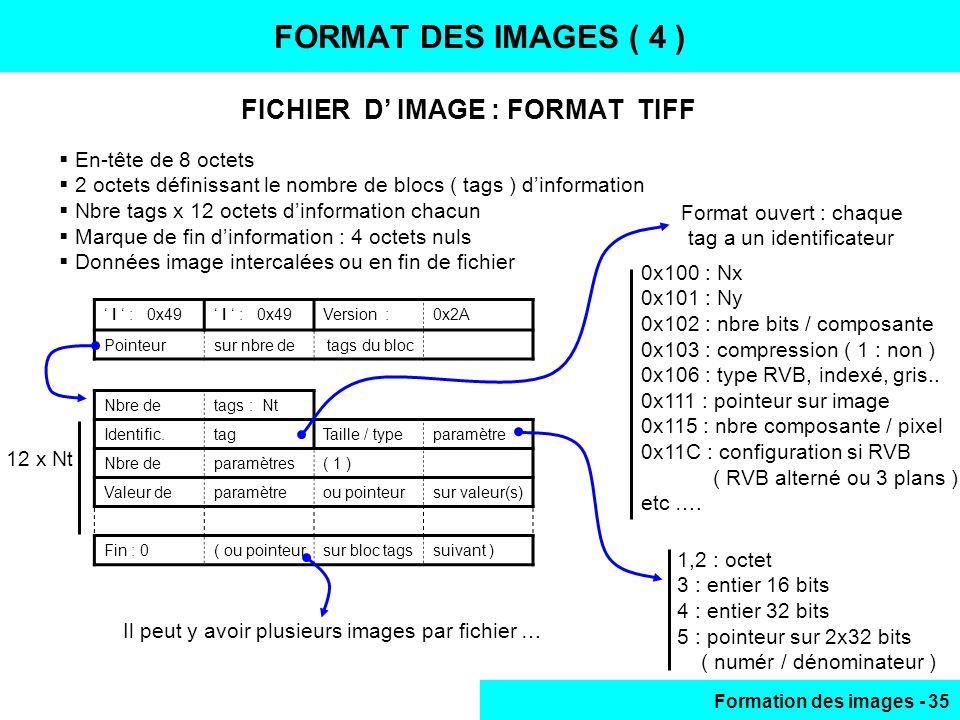 Formation des images - 35 FICHIER D IMAGE : FORMAT TIFF FORMAT DES IMAGES ( 4 ) En-tête de 8 octets 2 octets définissant le nombre de blocs ( tags ) d