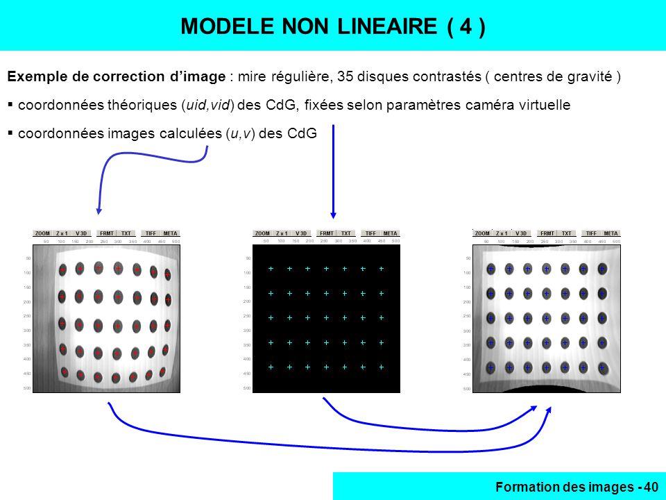 Formation des images - 40 MODELE NON LINEAIRE (4) Exemple de correction dimage : mire régulière, 35 disques contrastés ( centres de gravité ) coordonn