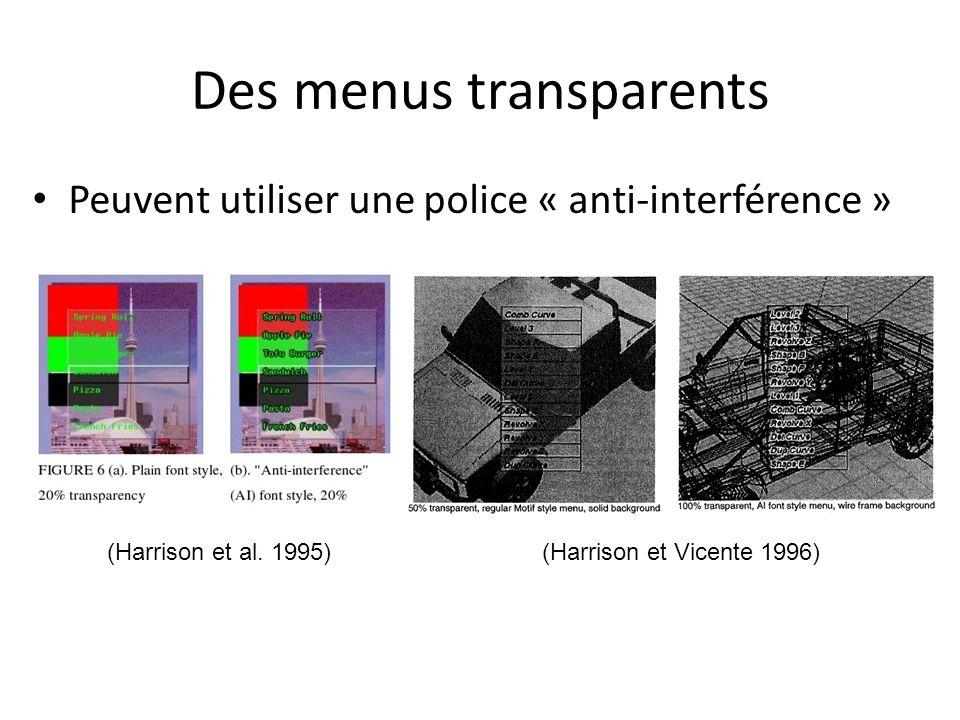 Des menus transparents Peuvent utiliser une police « anti-interférence » (Harrison et al. 1995)(Harrison et Vicente 1996)