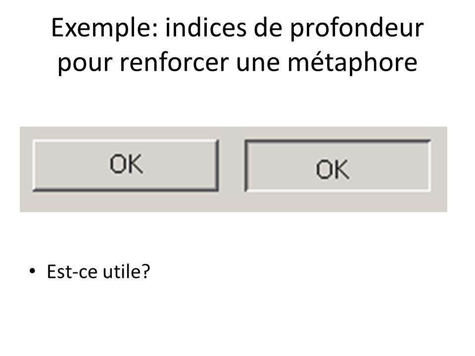 Exemple: indices de profondeur pour renforcer une métaphore Est-ce utile?