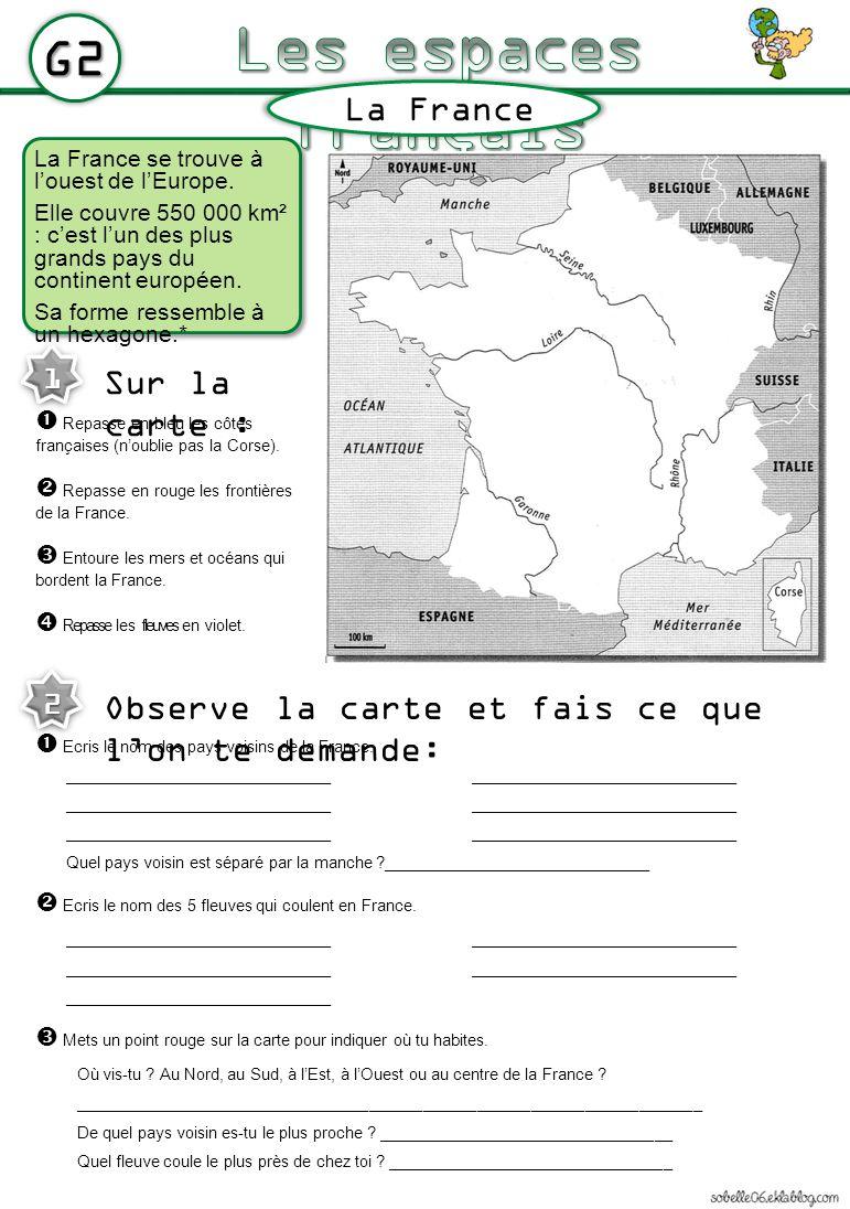 La France se trouve à louest de lEurope. Elle couvre 550 000 km² : cest lun des plus grands pays du continent européen. Sa forme ressemble à un hexago