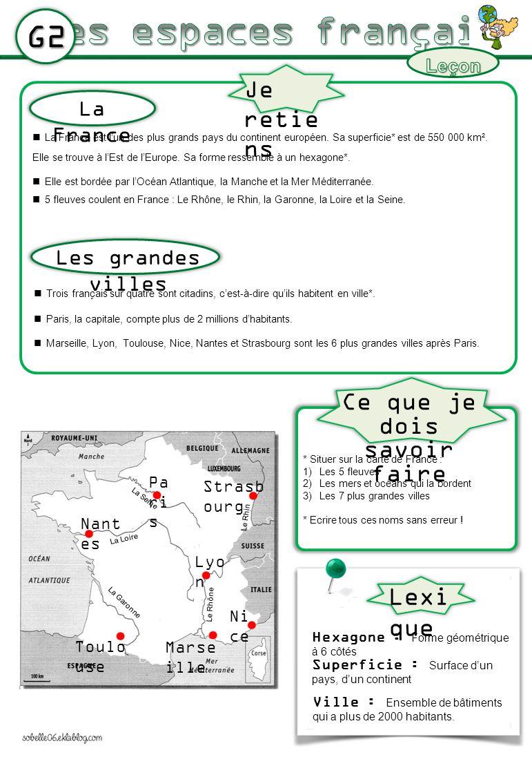 G2 La France est lun des plus grands pays du continent européen. Sa superficie* est de 550 000 km². Elle se trouve à lEst de lEurope. Sa forme ressemb