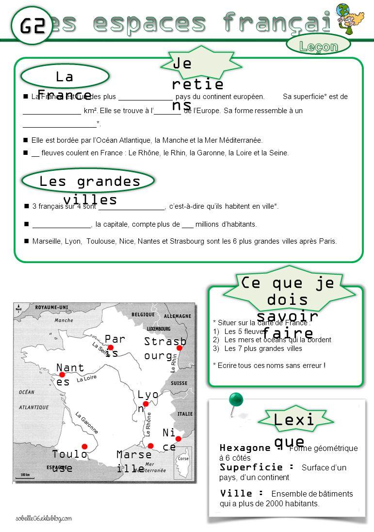G2 La France est lun des plus ______________ pays du continent européen. Sa superficie* est de _______________ km². Elle se trouve à l_______ de lEuro