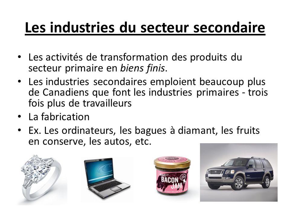 Les industries du secteur secondaire Les activités de transformation des produits du secteur primaire en biens finis.