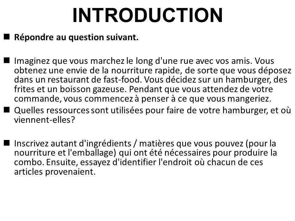 INTRODUCTION Inscrivez autant d ingrédients / matières que vous pouvez (pour la nourriture et l emballage) qui ont été nécessaires pour produire la combo.
