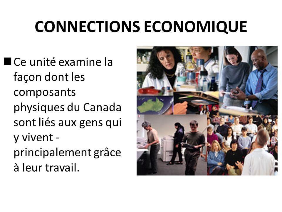 CONNECTIONS ECONOMIQUE Ce unité examine la façon dont les composants physiques du Canada sont liés aux gens qui y vivent - principalement grâce à leur travail.