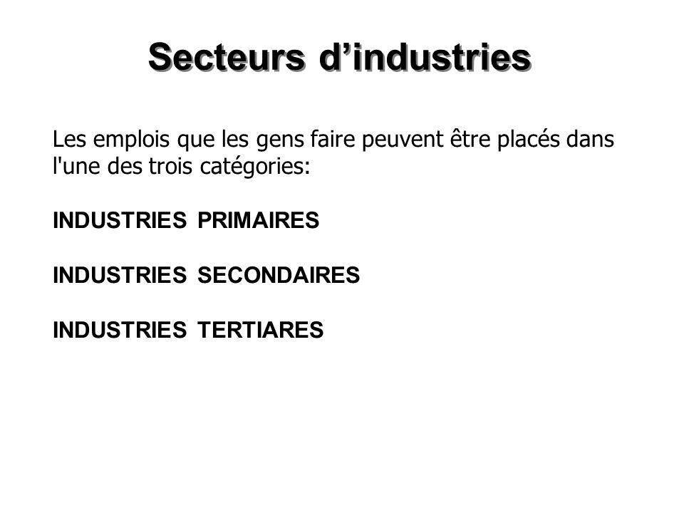 Les industries du secteur primaire Industries extractives – Extraient les matières premières de lenvironnement naturel.
