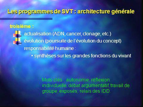 Les programmes de SVT : architecture générale troisième : actualisation (ADN, cancer, clonage, etc.) évolution (poursuite de lévolution du concept) re