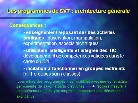 Les programmes de SVT : architecture générale Conséquences : enseignement reposant sur des activités pratiques : observation, manipulation, expériment