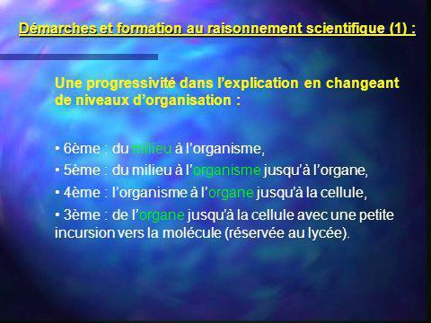 Une progressivité dans lexplication en changeant de niveaux dorganisation : 6ème : du milieu à lorganisme, 5ème : du milieu à lorganisme jusquà lorgan