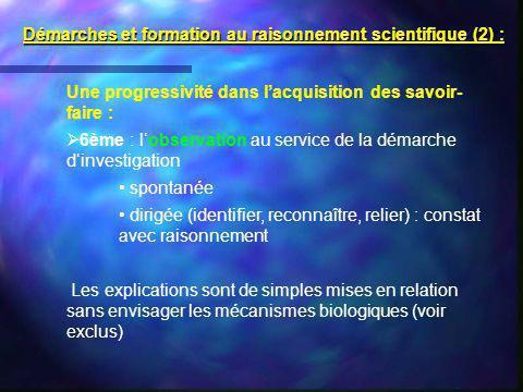 Une progressivité dans lacquisition des savoir- faire : 6ème : lobservation au service de la démarche dinvestigation spontanée dirigée (identifier, re