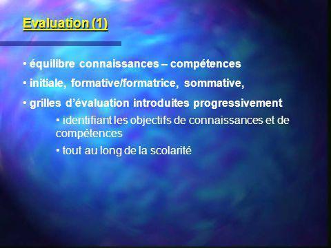 Evaluation (1) équilibre connaissances – compétences initiale, formative/formatrice, sommative, grilles dévaluation introduites progressivement identi