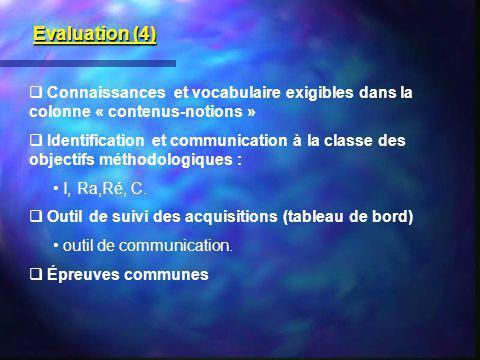 Connaissances et vocabulaire exigibles dans la colonne « contenus-notions » Identification et communication à la classe des objectifs méthodologiques