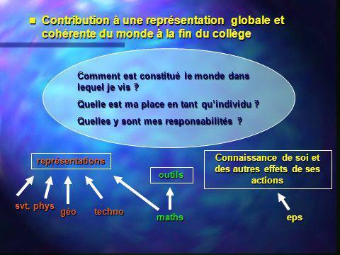 Contribution à une représentation globale et cohérente du monde à la fin du collège Contribution à une représentation globale et cohérente du monde à