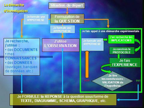 Situation de départ Formulation de la QUESTION Je recherche, jutilise : des DOCUMENTS mes CONNAISSANCES des DONNEES (ouvrages, banques de données, etc
