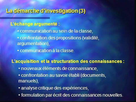 La démarche dinvestigation (3) Léchange argumenté : communication au sein de la classe, confrontation des propositions (validité, argumentation), comm