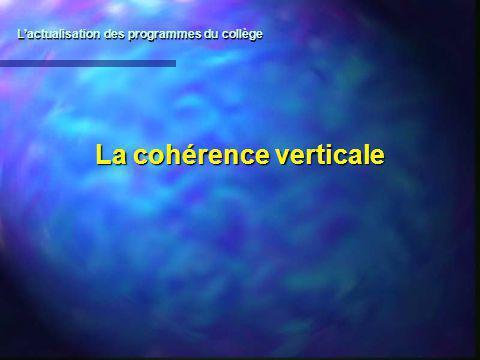 La cohérence verticale Lactualisation des programmes du collège