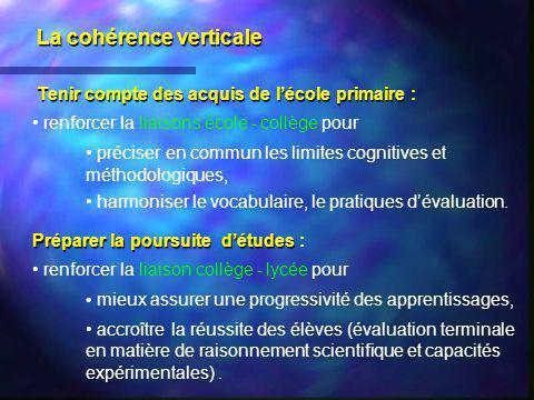 La cohérence verticale Tenir compte des acquis de lécole primaire Tenir compte des acquis de lécole primaire : renforcer la liaisons école - collège p