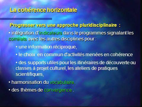 La cohérence horizontale Progresser vers une approche pluridisciplinaire : intégration dindicateurs dans le programmes signalant les corrélats avec le
