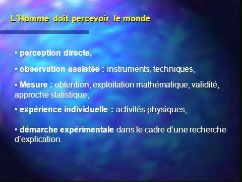 LHomme doit se représenter le monde à différentes échelles : dimension spatiale du microscopique à lastronomique, modèles issus de la géométrie, dimensions et unités appropriées (maths).