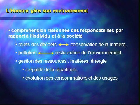 LHomme gère son environnement compréhension raisonnée des responsabilités par rapport à lindividu et à la société rejets des déchets conservation de l