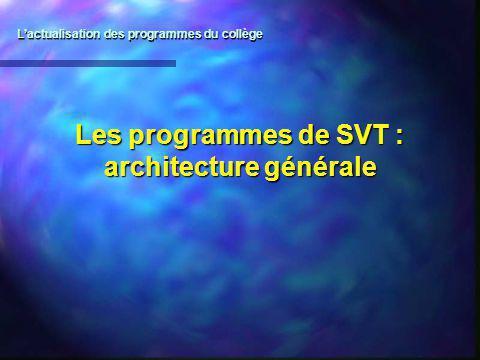 Les programmes de SVT : architecture générale Lactualisation des programmes du collège