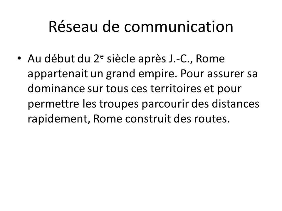 Réseau de communication Au début du 2 e siècle après J.-C., Rome appartenait un grand empire. Pour assurer sa dominance sur tous ces territoires et po