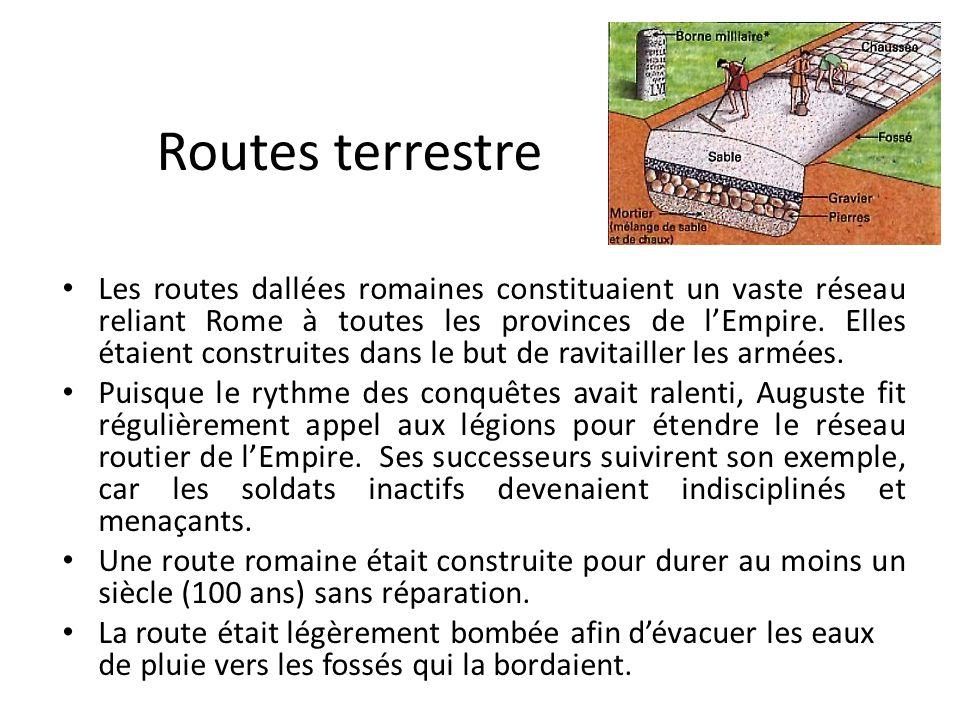 Routes terrestre Les routes dallées romaines constituaient un vaste réseau reliant Rome à toutes les provinces de lEmpire. Elles étaient construites d