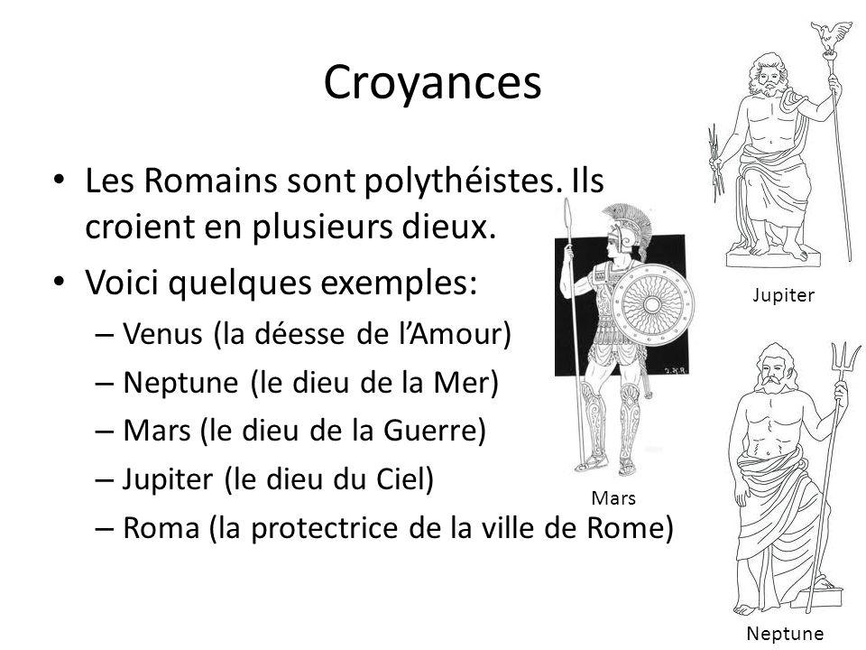 Croyances Les Romains sont polythéistes. Ils croient en plusieurs dieux. Voici quelques exemples: – Venus (la déesse de lAmour) – Neptune (le dieu de