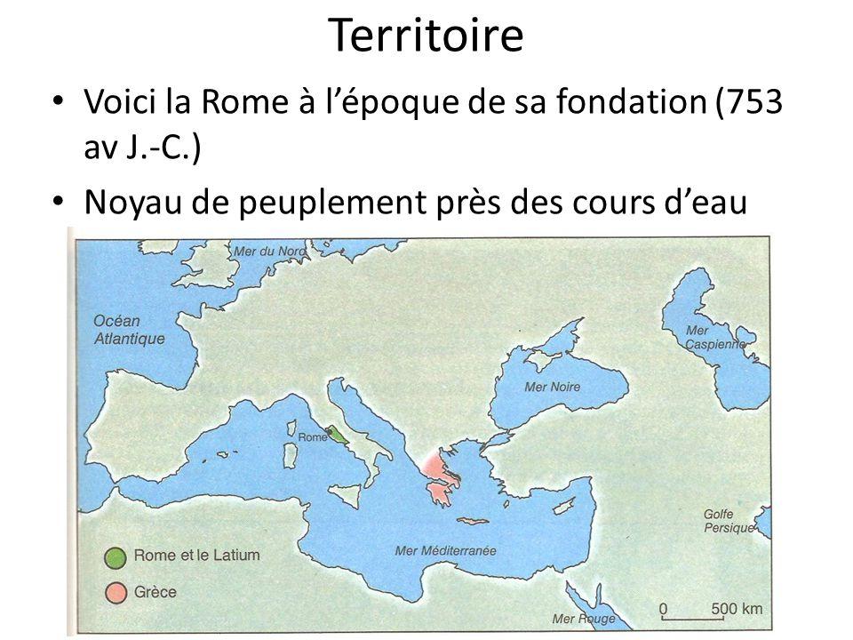 Territoire Voici la Rome à lépoque de sa fondation (753 av J.-C.) Noyau de peuplement près des cours deau