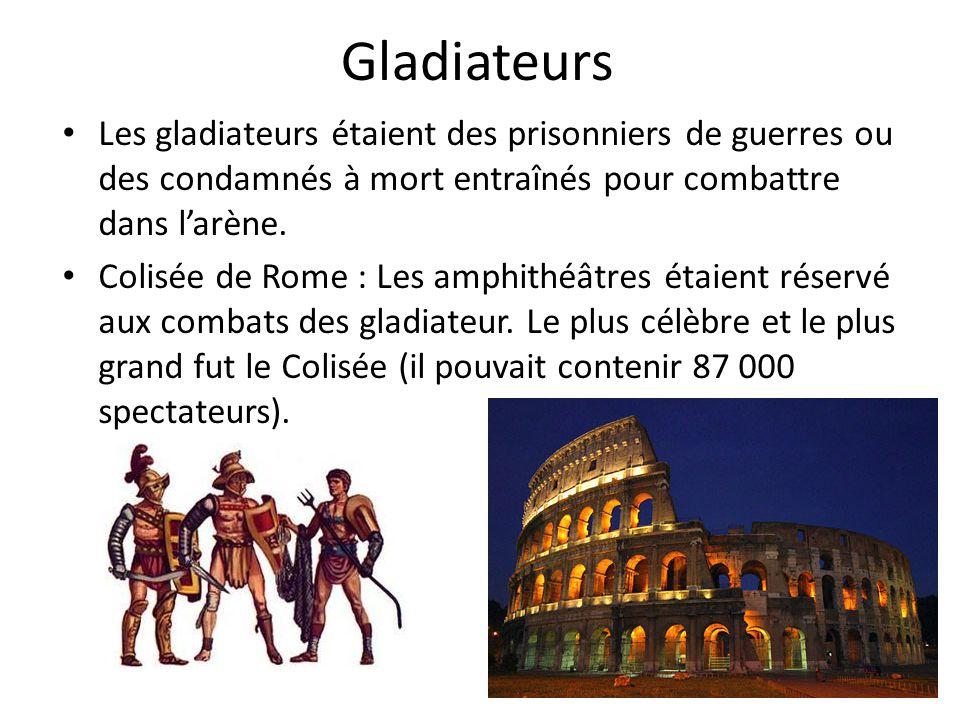 Gladiateurs Les gladiateurs étaient des prisonniers de guerres ou des condamnés à mort entraînés pour combattre dans larène. Colisée de Rome : Les amp
