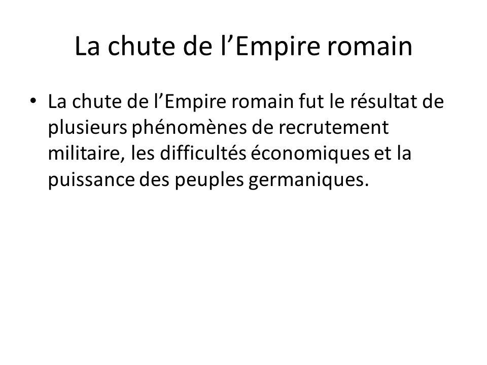 La chute de lEmpire romain La chute de lEmpire romain fut le résultat de plusieurs phénomènes de recrutement militaire, les difficultés économiques et