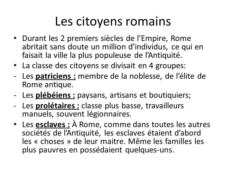 Les citoyens romains Durant les 2 premiers siècles de lEmpire, Rome abritait sans doute un million dindividus, ce qui en faisait la ville la plus popu