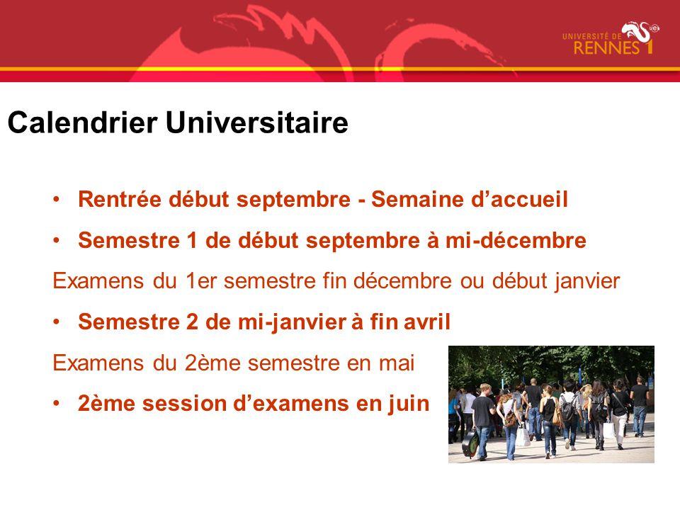 Calendrier Universitaire Rentrée début septembre - Semaine daccueil Semestre 1 de début septembre à mi-décembre Examens du 1er semestre fin décembre o