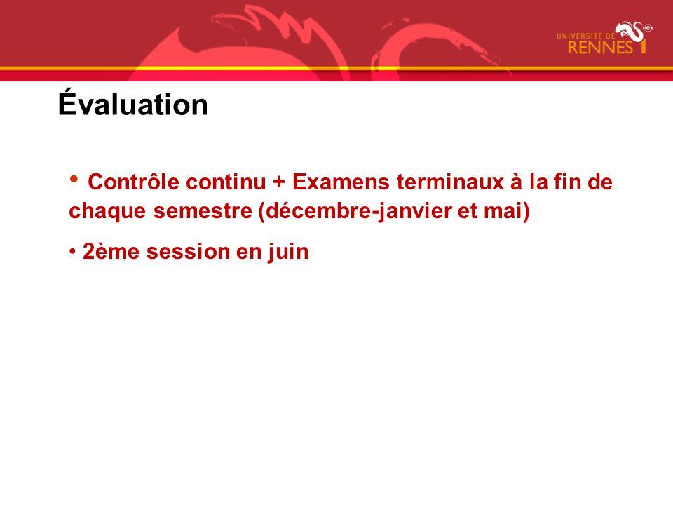 Évaluation Contrôle continu + Examens terminaux à la fin de chaque semestre (décembre-janvier et mai) 2ème session en juin