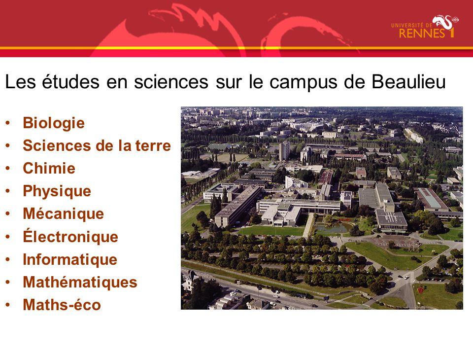 Les études en sciences sur le campus de Beaulieu Biologie Sciences de la terre Chimie Physique Mécanique Électronique Informatique Mathématiques Maths