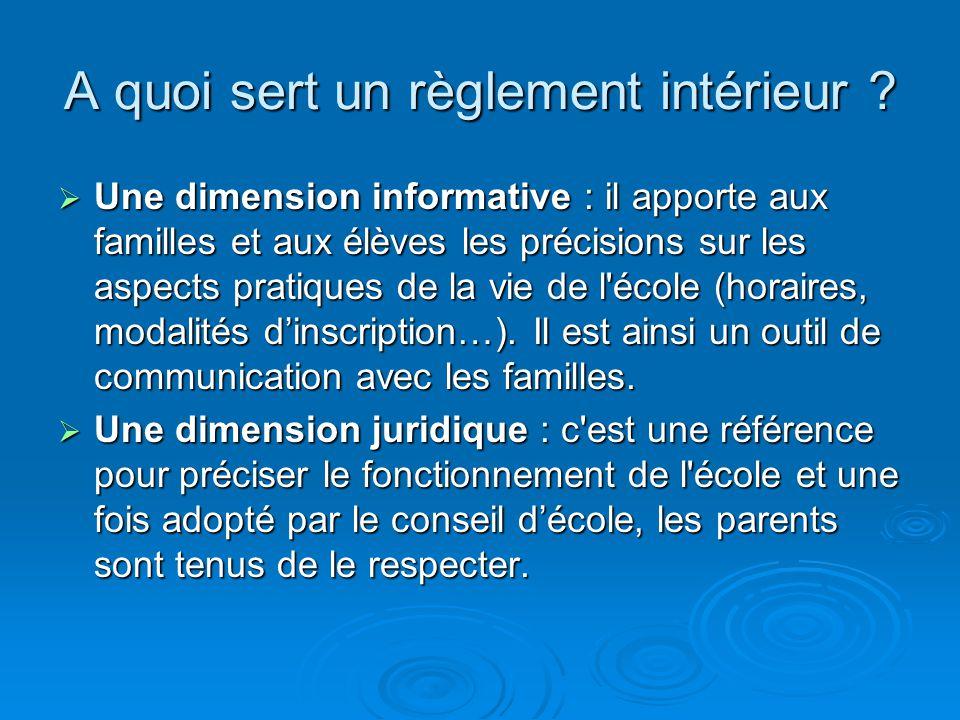 A quoi sert un règlement intérieur ? Une dimension informative : il apporte aux familles et aux élèves les précisions sur les aspects pratiques de la