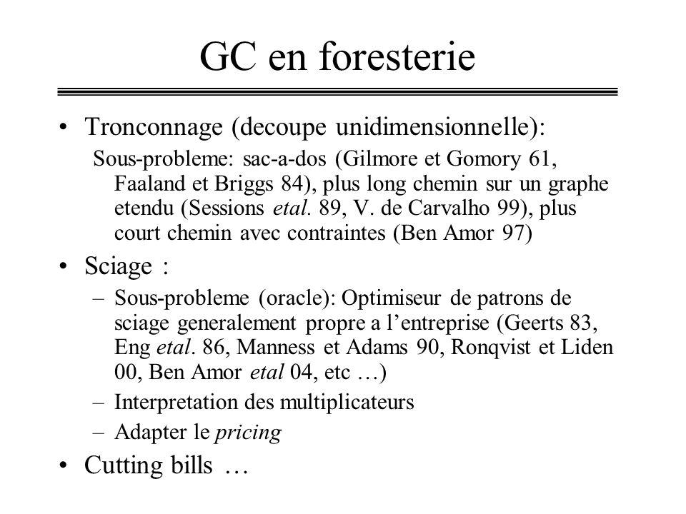 GC en foresterie Tronconnage (decoupe unidimensionnelle): Sous-probleme: sac-a-dos (Gilmore et Gomory 61, Faaland et Briggs 84), plus long chemin sur un graphe etendu (Sessions etal.