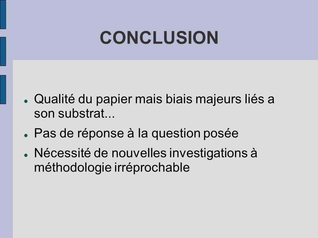 CONCLUSION Qualité du papier mais biais majeurs liés a son substrat...