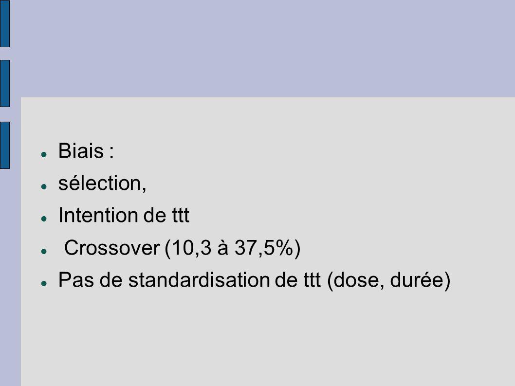 Biais : sélection, Intention de ttt Crossover (10,3 à 37,5%) Pas de standardisation de ttt (dose, durée)
