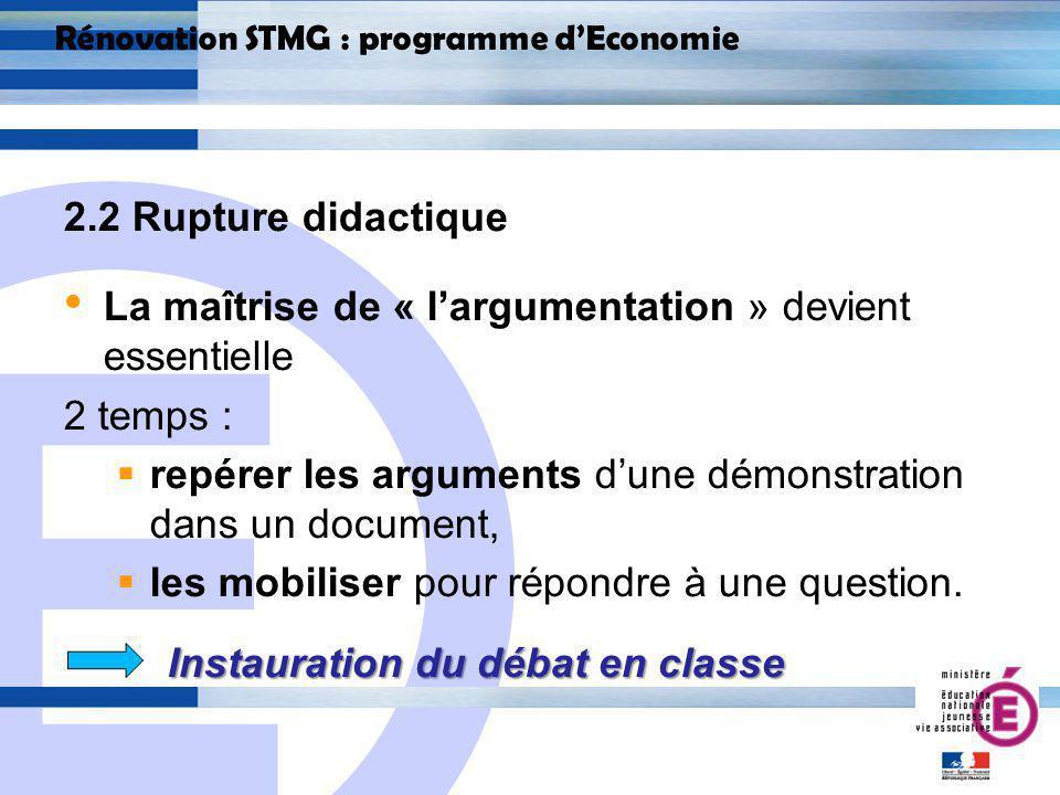 E 15 Rénovation STMG : programme dEconomie 2.2 Rupture didactique La maîtrise de « largumentation » devient essentielle 2 temps : repérer les arguments dune démonstration dans un document, les mobiliser pour répondre à une question.