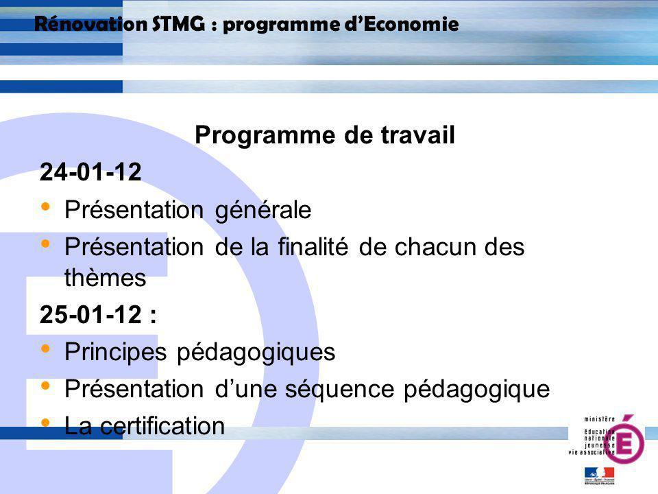E 13 Rénovation STMG : programme dEconomie 2.1 Rupture dans le fond : un changement de logique et dapproche Chaque thème est donc posé sous forme de questions Ex : II.