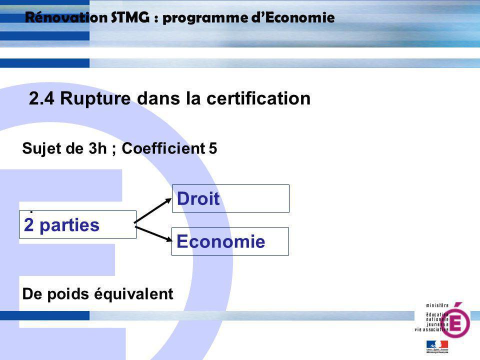 E 21 Rénovation STMG : programme dEconomie 2.4 Rupture dans la certification.