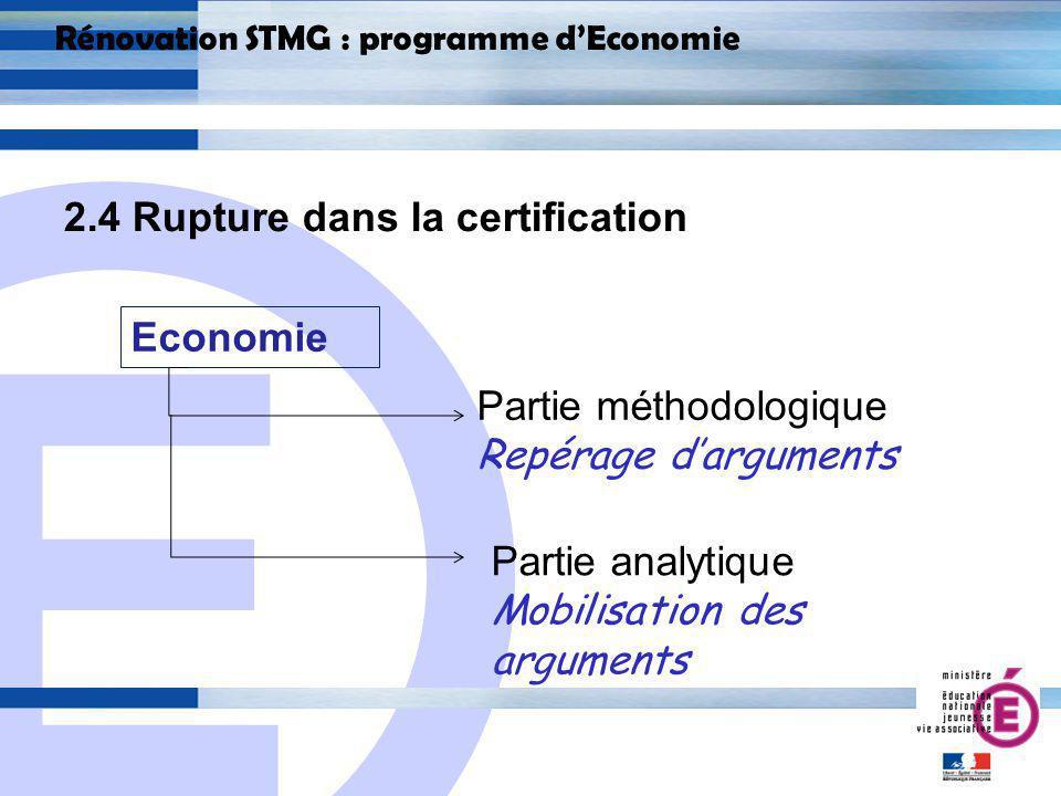 E 22 Rénovation STMG : programme dEconomie 2.4 Rupture dans la certification Economie Partie analytique Mobilisation des arguments Partie méthodologique Repérage darguments