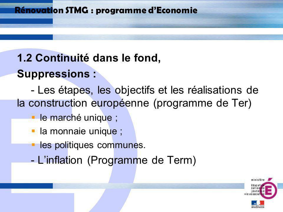E 8 Rénovation STMG : programme dEconomie 1.2 Continuité dans le fond, Suppressions : - Les étapes, les objectifs et les réalisations de la construction européenne (programme de Ter) le marché unique ; la monnaie unique ; les politiques communes.